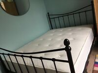 Black Metal Double Bed with orthopaedic mattress