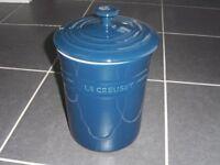 Le Creuset Blue Biscuit Jar/Barrel with Lid