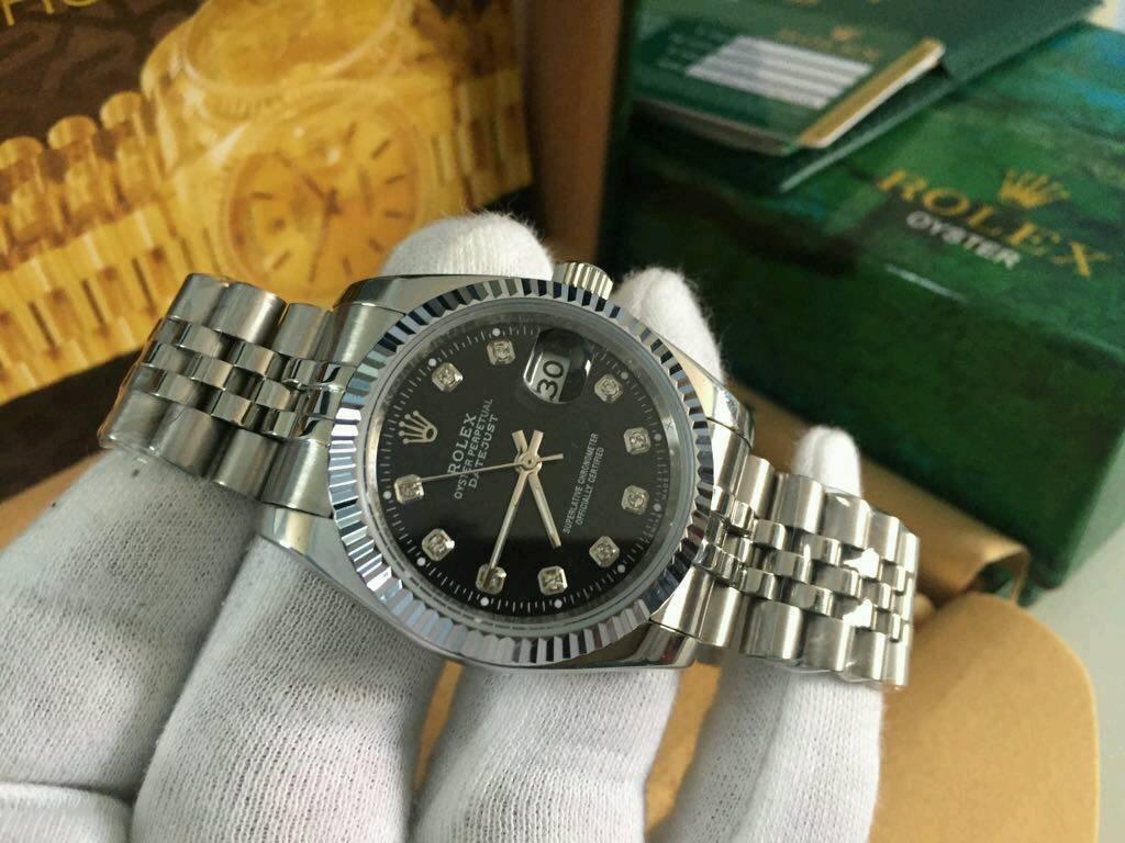 Rolex Datejust Black Dial Silver case
