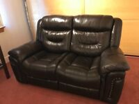 2 Seater Reclining Leather Sofa, in excellent condition!