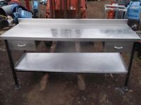 Stainless steel prep table with bottom shelf and drawers quantity available