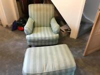 Vintage Marks&Spencers armchair and foot stool