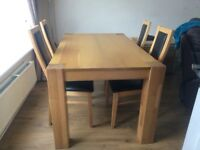 Oak Dining Table And 4 Chairs One Of Damaged On Front Seat Pad Price Does