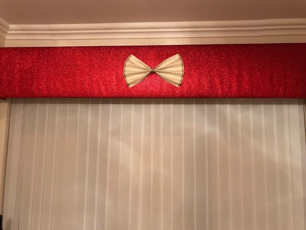 2 Red 7ft glitter pelmets with cream bows