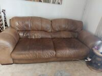 Cigar brown leather sofa chair