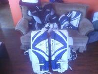 proffesional NHL goalie gear with proof on sides of pads