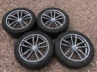 "Genuine 18"" BMW M Sport 662M G30 G31 5 Series Staggered Alloy Wheels Grey Michelin Run Flat Tyres"
