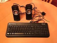 USB Keyboard and Speakers.