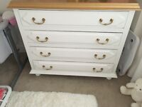 Chest Of Drawers, French White and gold