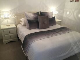 Bedroom furniture incl. king size (5ft) bed frame, two side tables, chest of drawers and mirror