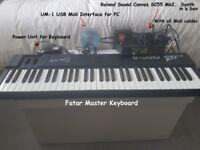 FATAR KEYBOARD AND ROLAND SYNTH SC55 MK2
