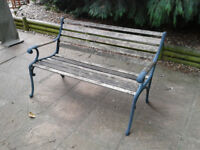 Vintage Garden Bench Heavy Solid cast metal Ends. #FREE LOCAL DELIVERY#