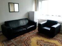 2 + 1 Seater Sofa Suite, Leather, black colour
