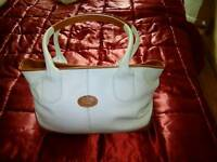 White and brown Tod's bag