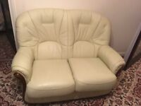 Cream 2 seater sofa and chair