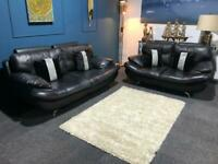 Black leather Harvey's Islington suite 3 seater sofa 2 seater sofas