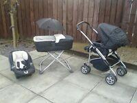 Mamas & Papas black and white polka dot pram, car seat and carry cot