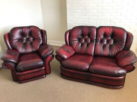 Leather Recliner chair and 2 seater couch