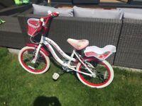 Girls bike Strawberry white and red 18'