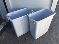 2 x PLASTIC STORAGE BOXES – 59cm high x 52cm long x 28cm deep