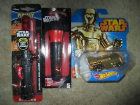 Star Wars Bundle - Kylo Ren LightSaber Toothbrush, A Torch & A Hot Wheels CP30 Car all mint & Boxed