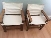 Two cream childrens garden director chairs
