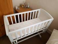 Mothercare gliding crib with mattress