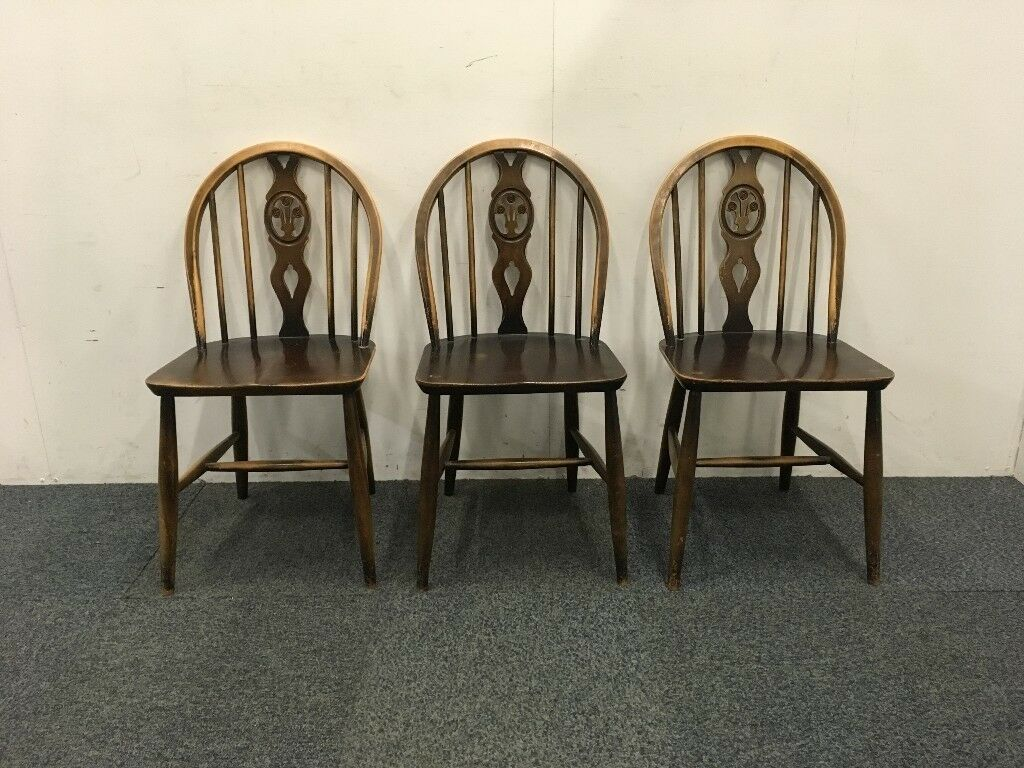 Marvelous Three Ercol Fleur De Lys Dining Chairs In Stroud Gloucestershire Gumtree Ibusinesslaw Wood Chair Design Ideas Ibusinesslaworg