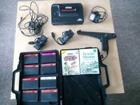 SEGA MASTER SYSTEM 2 CONSOLE + 2 CONTROLLERS, LIGHT GUN, 11 GAMES & CARRY CASE