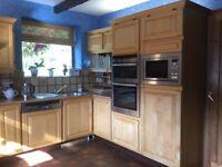 Bargain - complete kitchen - solid Maple wood doors, drawer fronts, housings etc - plus appliances
