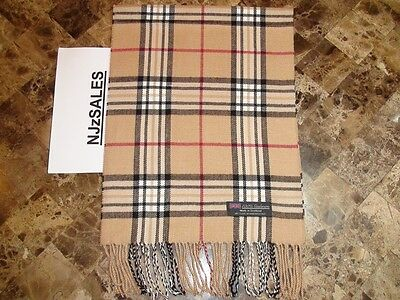 100% CASHMERE Winter Scarf Camel Beige Tan Tartan Check Plaid Made in SCOTLAND