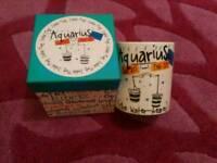Zodiac mug aquarius brand new in box