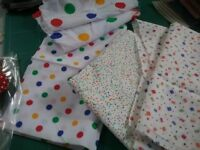 Fabric for craft projects white with multicolout dots