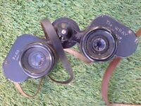 CLASSIC 1950'S WRAY NINE 9 X 60 BINOCULARS IN LEATHER CASE MADE IN THE UK