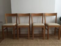 4 x Ikea White Leather Upholstered Chairs