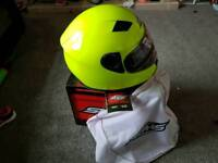 Hi vis green helmets size xs for kids and a medium adults come with box and bags
