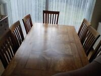 For sale Marks and Spencers expandable 8 seater dining table with chairs and matchng sideboard