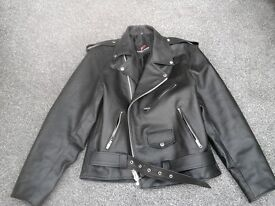 Biker style mens real leather jacket