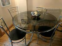 Smoked Glass and Chrome Dining Table & 4 Chairs