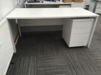 WHITE FULL SIZE OFFICE DESKS WITH FREESTANDING LOCKABLE DRAWERS X 6