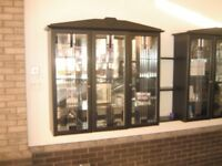 GLASS FRONTED WOODEN WALL DISPLAY CABINET / CUPBOARD - 6 AVAILABLE