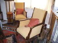 Vintage 1920s oak armchairs