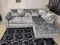 SAME DAY DELIVERY- NEW DYLAN CRUSH VELVET 3 AND 2 & CORNER SOFA IN DIFFERENT COLORS