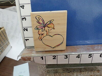 angel cherub butterfly wings with heart valentine NEW rubber stamp 34t - Butterfly With Angel Wings