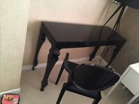 Black high gloss console table with eames chair genuine