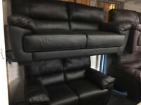 NEW/Ex Display Reid Abella Black Leather 3 Seater Sofa + 2 Seater Sofa
