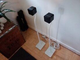 Cambridge Audio MINX Min 10 BMR Speakers (PAIR) in black with white stands (PAIR)
