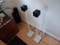 Cambridge Audio MINX Min 10 BMR Speakers (PAIR) in black with white stands (PAIR)
