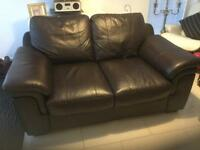 2 Seater Brown Faux Leather Sofa