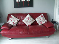 Leather Sofas 3 Seater And 2 Seater Modern Good Quality With Chrome Legs
